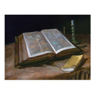 Cartão Postal Ainda vida com a bíblia por Vincent van Gogh