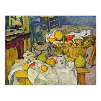 Cartão Postal Ainda vida com a cesta de fruta por Paul Cézanne