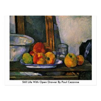 Cartão Postal Ainda vida com a gaveta aberta por Paul Cezanne
