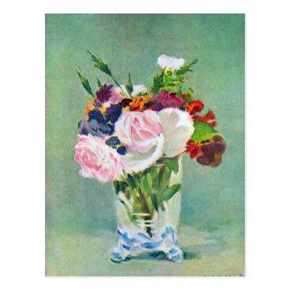 Cartão Postal Ainda vida com as flores por Edouard Manet