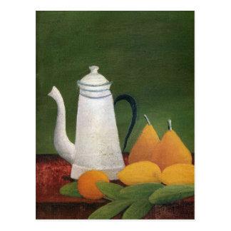 Cartão Postal Ainda vida com bule & fruta por Henri Rousseau