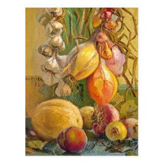 Cartão Postal Ainda vida com cebolas - Antonio Sicurezza