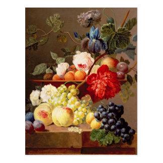 Cartão Postal Ainda vida com fruta e flores