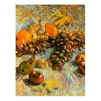 Cartão Postal Ainda vida com maçãs, peras, uvas - Van Gogh