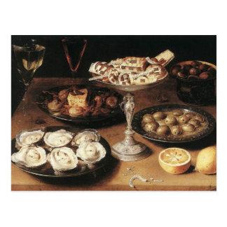 Cartão Postal Ainda vida com ostras - Osias Beert