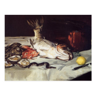 Cartão Postal Ainda vida com peixes - Edouard Manet