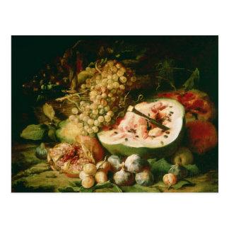 Cartão Postal Ainda vida da fruta em uma borda