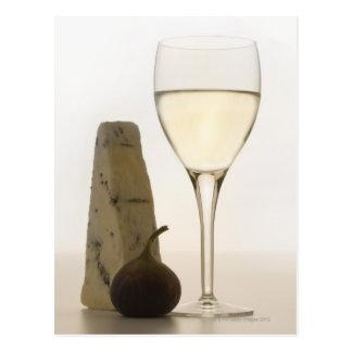 Cartão Postal Ainda vida do vinho, do queijo e do figo