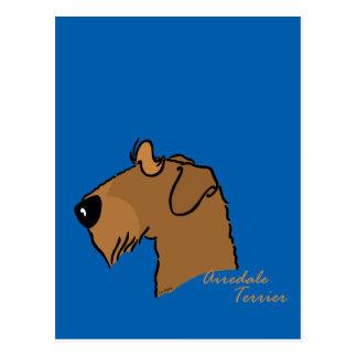 Cartão Postal Airedale Terrier cabeça silhueta