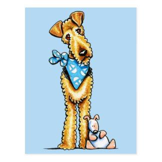 Cartão Postal Airedale Terrier e filhote de cachorro