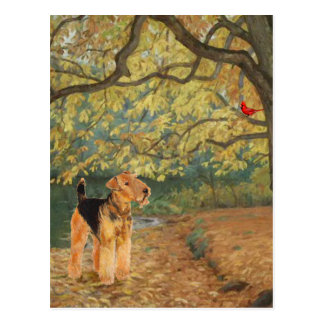 Cartão Postal Airedale Terrier que Birdwatching