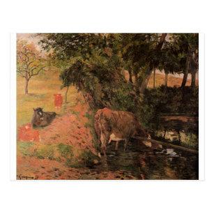 Cartão Postal Ajardine com vacas em um pomar por Paul Gauguin