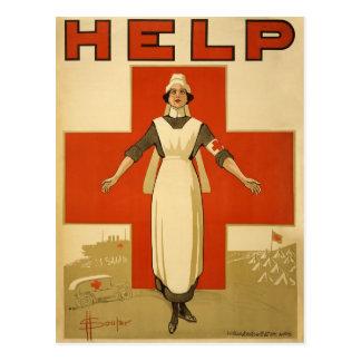 Cartão Postal AJUDA vermelha da leitura do poster da enfermeira