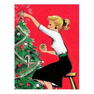 Cartão Postal Ajustador da árvore de Natal do anos 50