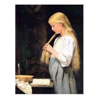 Cartão Postal Albert Anker, Mädchen morre flechtend de Haare