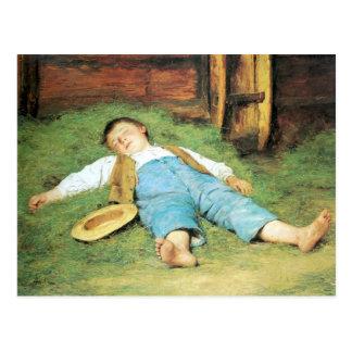 Cartão Postal Albert Anker, Schlafender Knabe im Heu