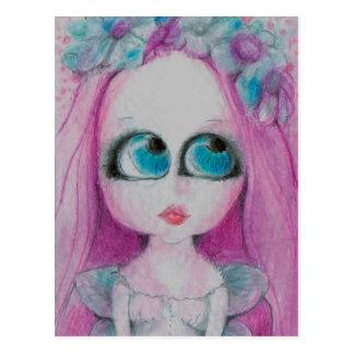 Cartão Postal Alegre uma fada cor-de-rosa da flor que deseja