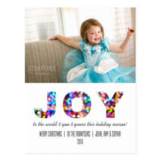 Cartão Postal Alegria ao feriado Sparkly colorido do mundo