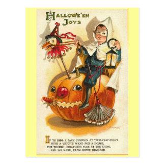 Cartão Postal Alegrias do Dia das Bruxas do vintage