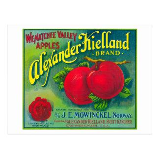Cartão Postal Alexander Kielland Apple etiqueta - a caxemira, WA