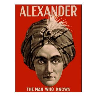 Cartão Postal Alexander o homem que sabe