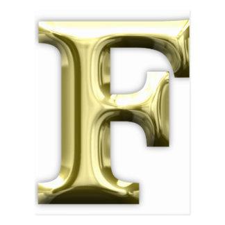 Cartão Postal Alfabeto brilhante dourado do ouro da letra F