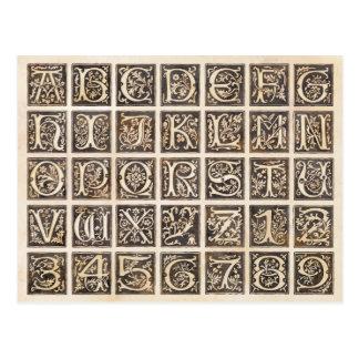 Cartão Postal Alfabeto e números decorativos de Brown