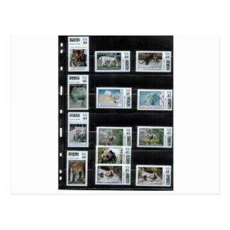 Cartão Postal Alguns selos do costume de Zazzle pelo dorinco