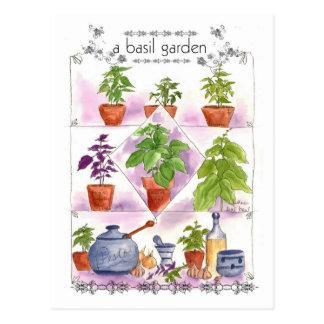 Cartão Postal Alho de Pesto da arte da erva da aguarela do