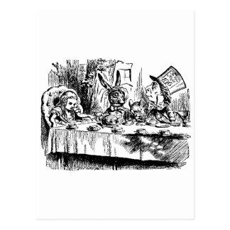 Cartão Postal Alice, coelho branco, tea party