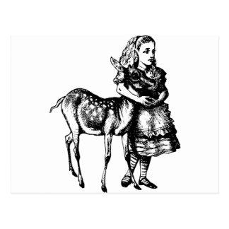 Cartão Postal Alice com jovem corça cobriu o preto