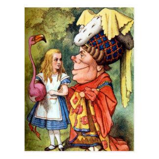 Cartão Postal Alice e a duquesa Jogo Flamingo Croquet
