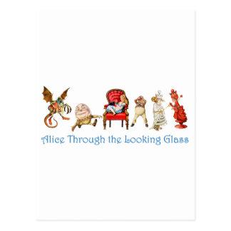 Cartão Postal Alice e amigos através do espelho
