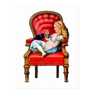 Cartão Postal Alice e Dinah através do espelho