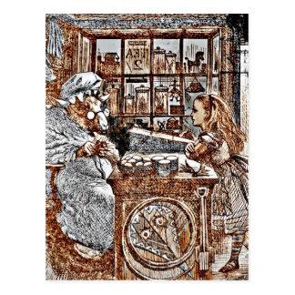Cartão Postal Alice e os carneiros de confecção de malhas