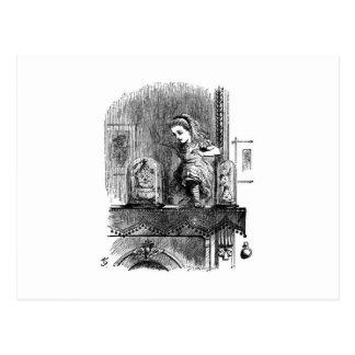 Cartão Postal Alice em um espelho