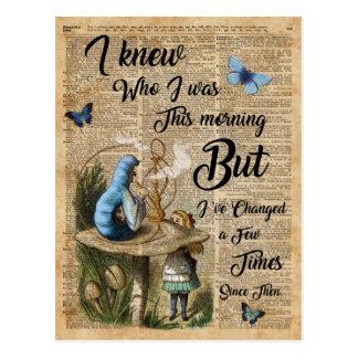 Cartão Postal Alice na arte do dicionário do vintage das