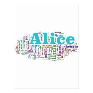 Cartão Postal Alice na nuvem da palavra do país das maravilhas