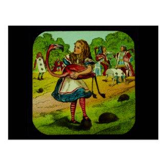 Cartão Postal Alice no Croquet do flamingo do país das