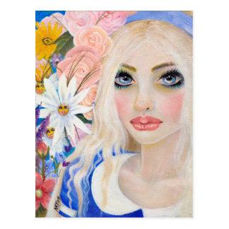 Cartão Postal Alice no jardim da pintura viva das flores