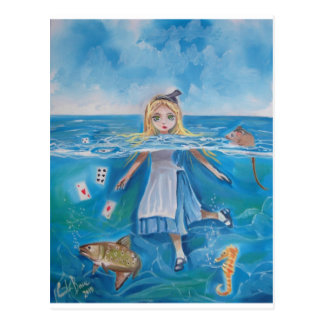 Cartão Postal Alice no país das maravilhas a piscina dos rasgos