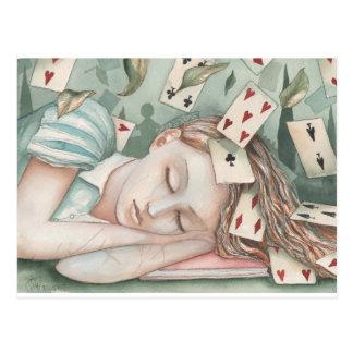 Cartão Postal Alice no país das maravilhas adormecido