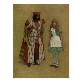 Cartão Postal Alice no país das maravilhas e o rei dos corações