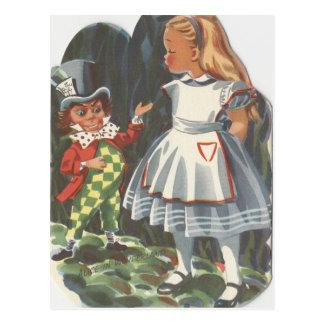 Cartão Postal Alice no país das maravilhas & o Hatter louco