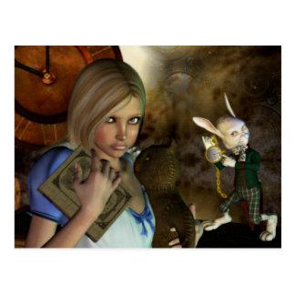 Cartão Postal Alice & o coelho branco
