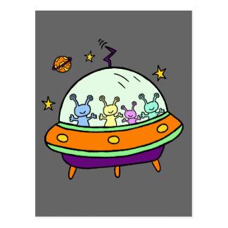 Cartão Postal Aliens amigáveis