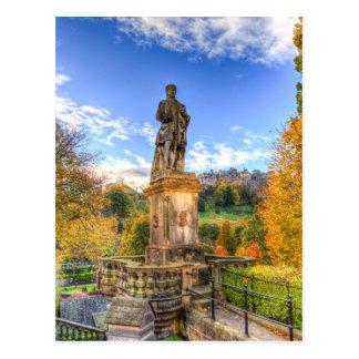 Cartão Postal Allan Ramsey e castelo Scotland de Edimburgo