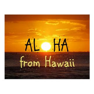Cartão Postal Aloha oceano 2 do por do sol de Havaí