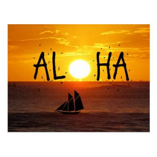 Cartão Postal Aloha veleiro do oceano do por do sol de Havaí