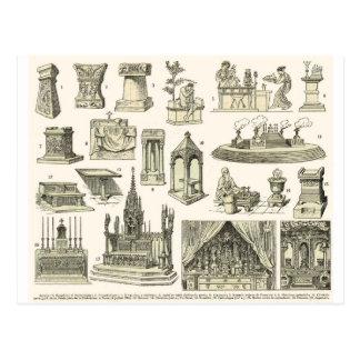 Cartão Postal Altares do vintage